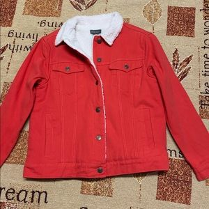 Sans Souci New Red White Fleece Jacket Coat SizeSP